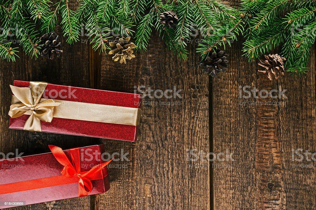 Christmas frame with gift boxes stock photo