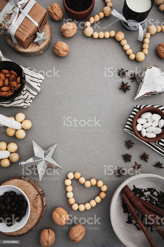 Christmas frame with nordic decor and traditional food stock photo