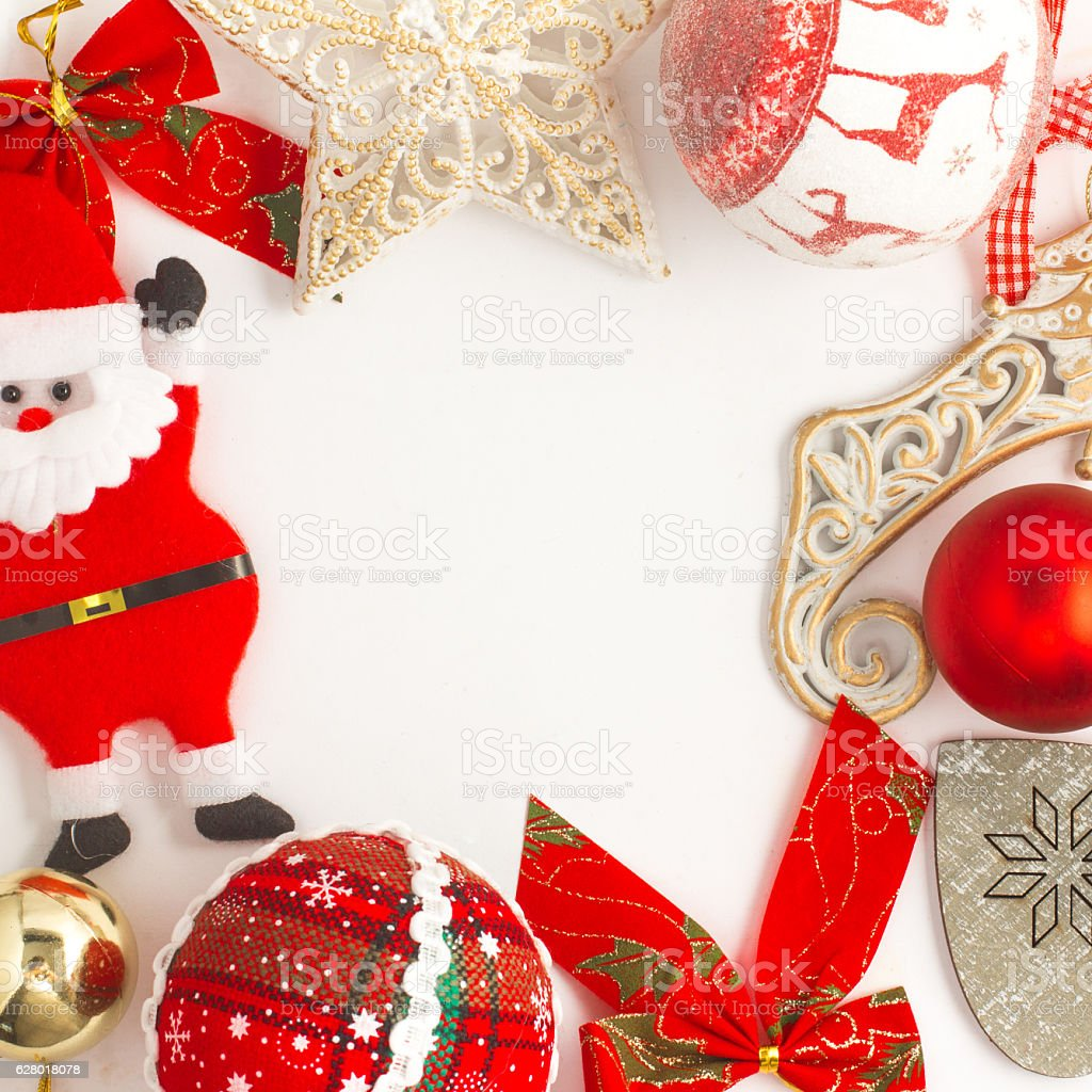 Christmas Frame with ornaments and decorations stock photo