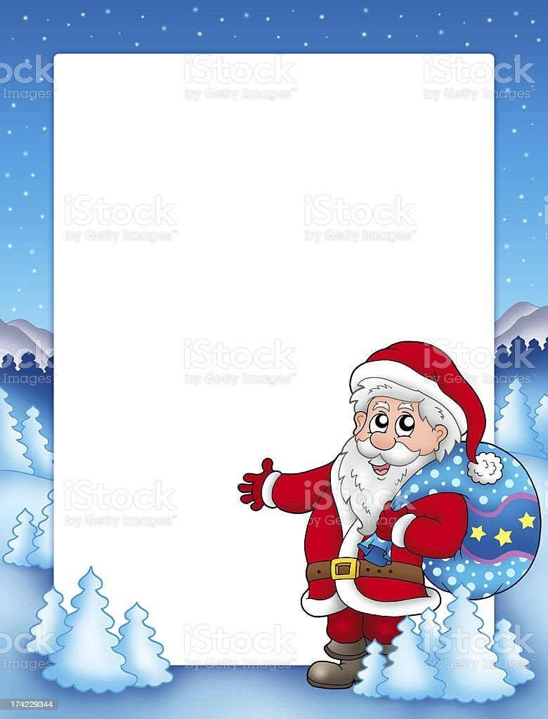 Christmas frame with Santa Claus 1 royalty-free stock photo