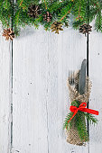 Christmas frame with silverware