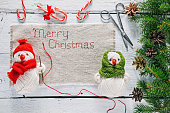 Christmas frame with snowman stitching napkin
