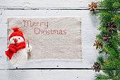 Christmas frame with snowman stitching napkin