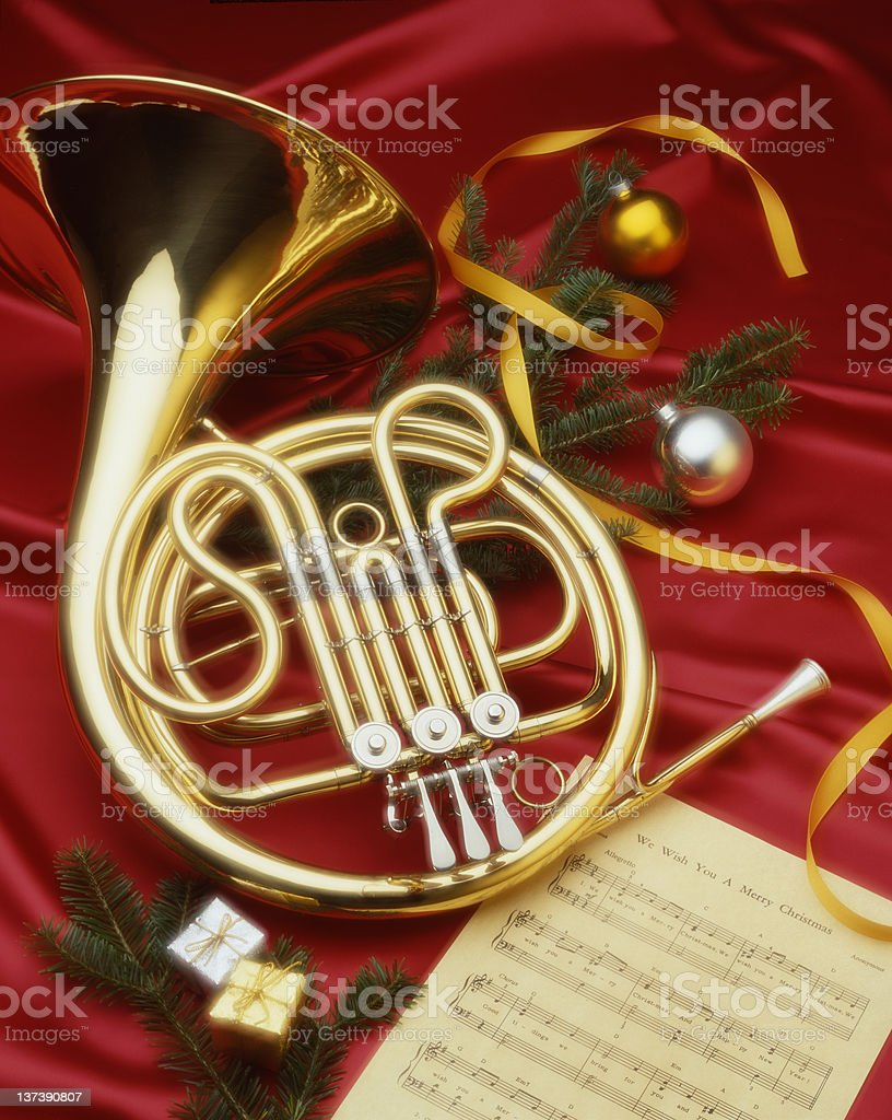 Christmas French Horn royalty-free stock photo