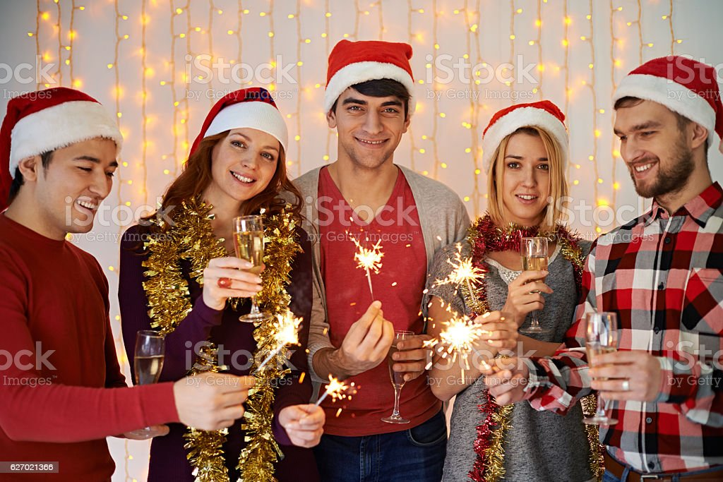 Christmas friends stock photo