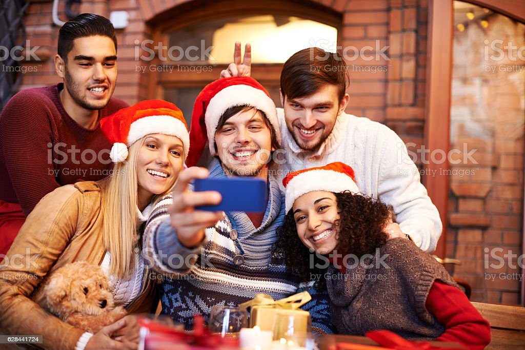 Christmas friends selfie stock photo