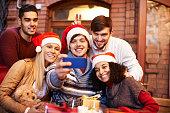 Christmas friends selfie