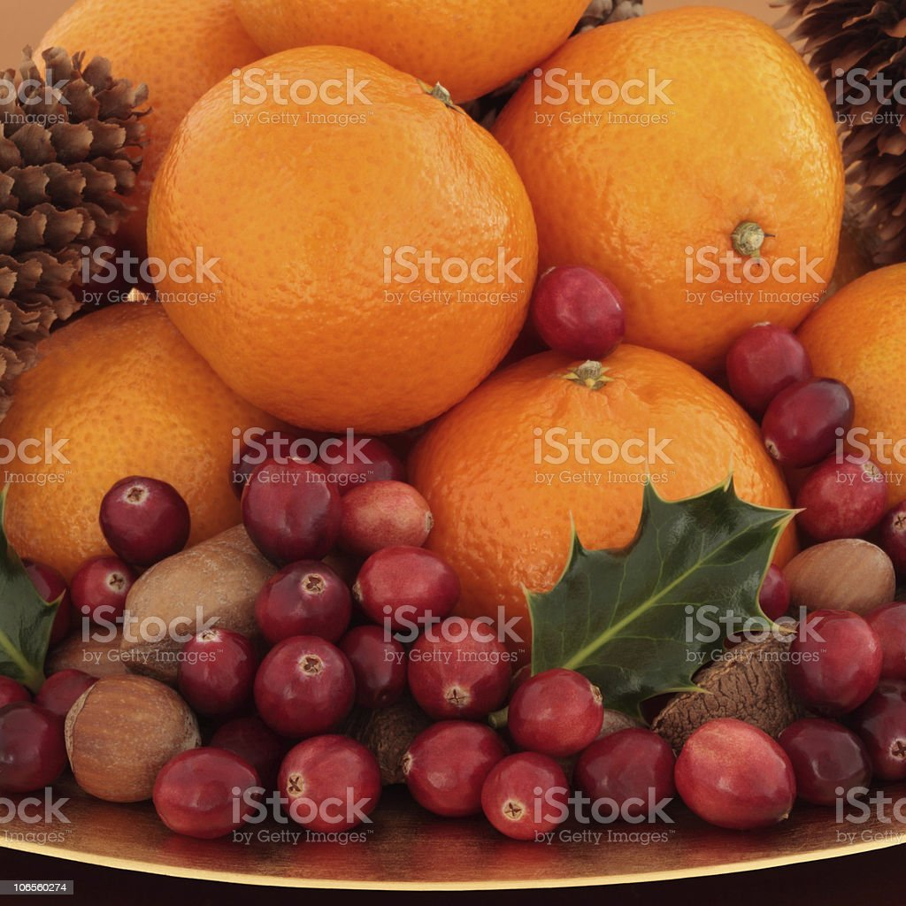 Christmas Fruit and Nuts stock photo