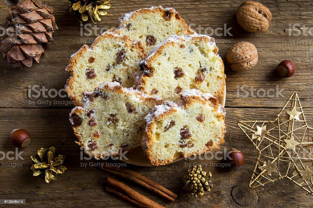 Christmas fruit bread stock photo