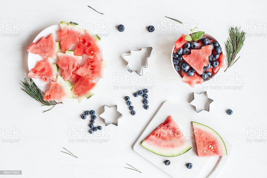 Christmas fruit salad of watermelon and blueberries for kids stock photo