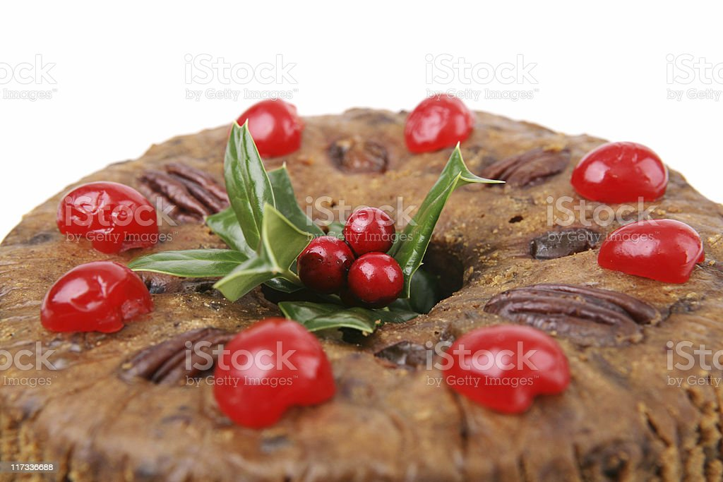 Christmas Fruitcake Closeup stock photo