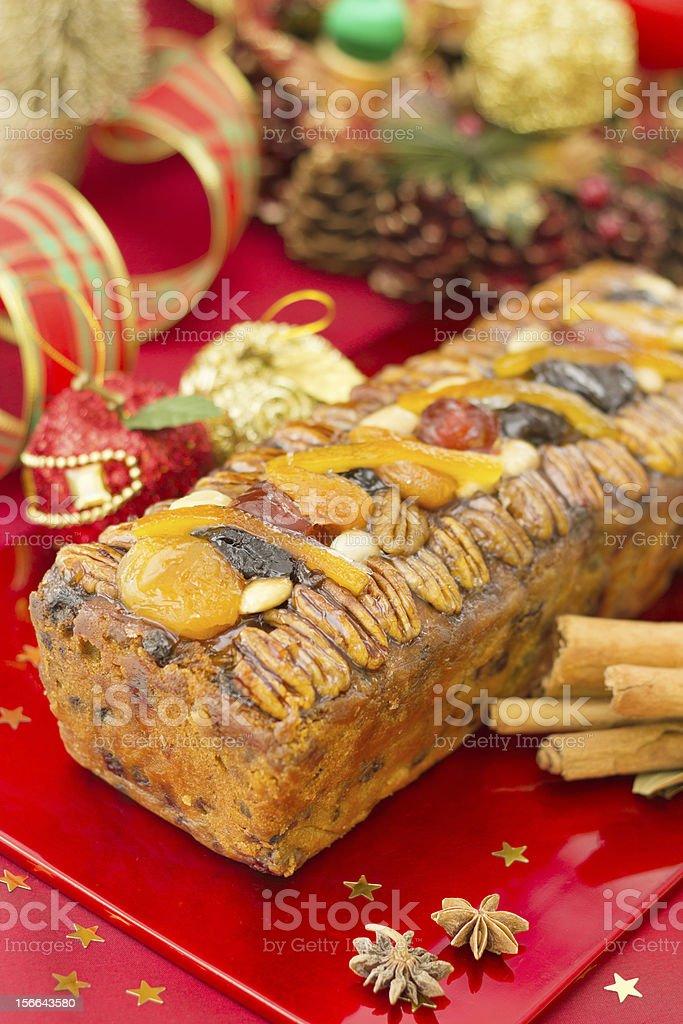 Christmas Fruit-cake with festive decoration royalty-free stock photo