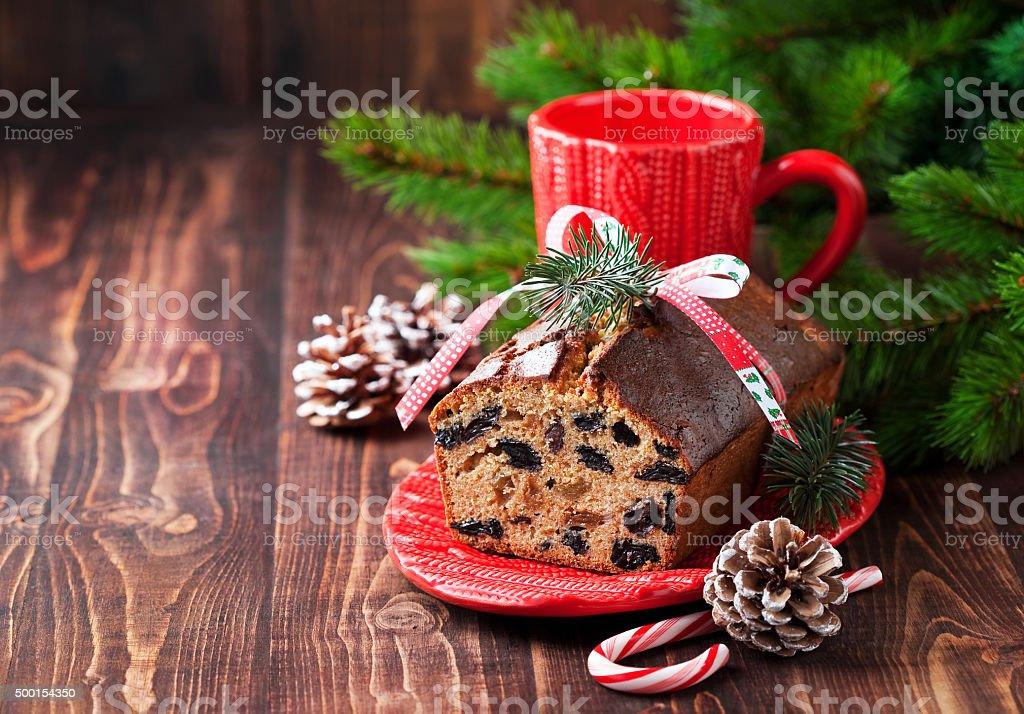 Christmas fruitcake with raisins stock photo