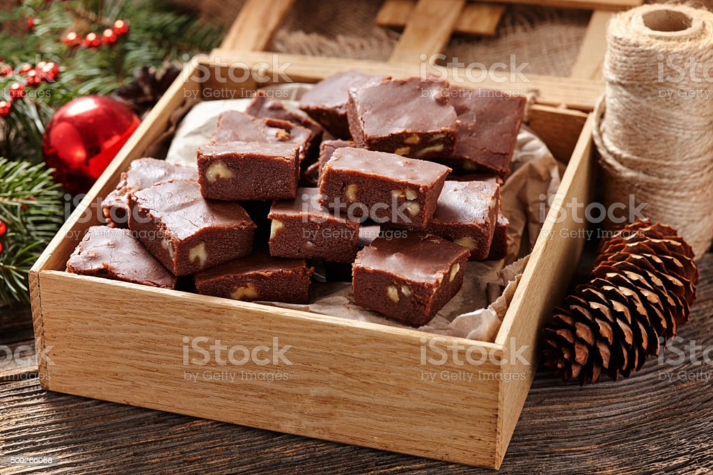 Christmas fudge traditional homemade chocolate sweet dessert food in wooden stock photo