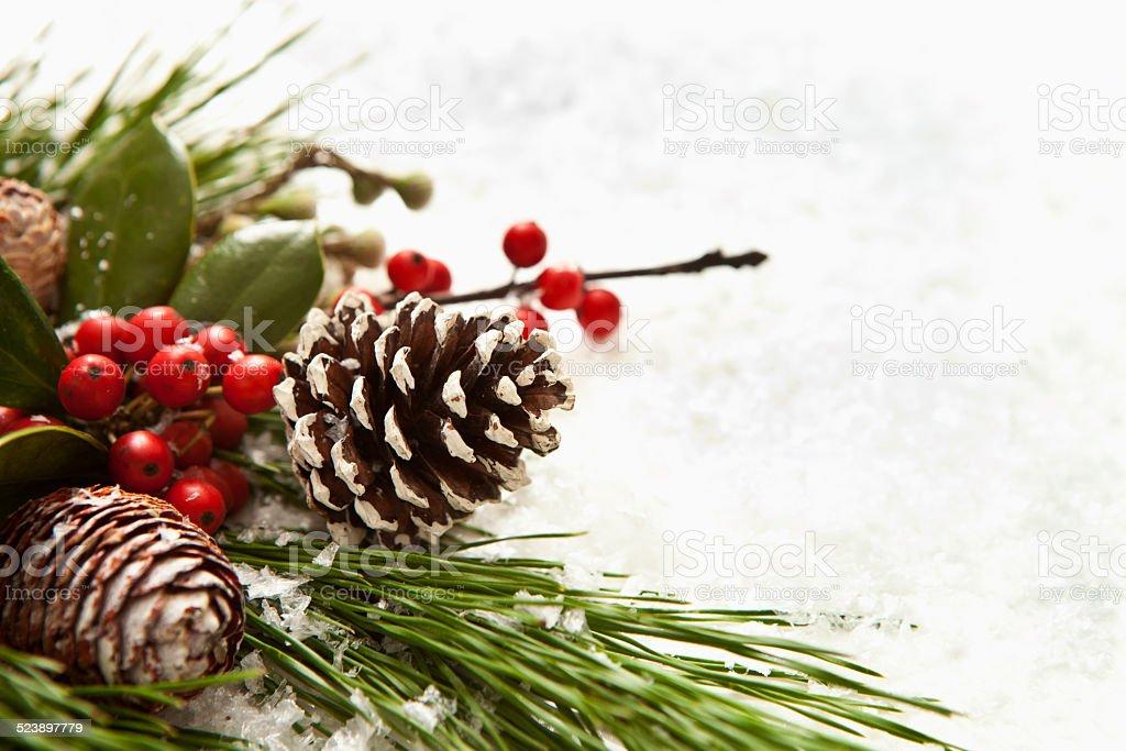 Christmas Garland and Bow stock photo