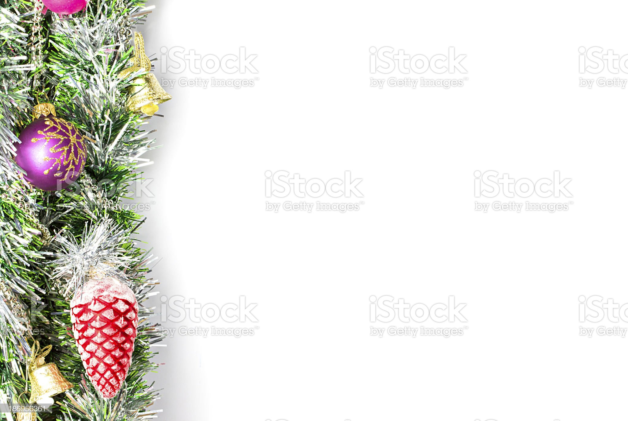 Christmas  garland, border with decoration, ornament  on white background royalty-free stock photo
