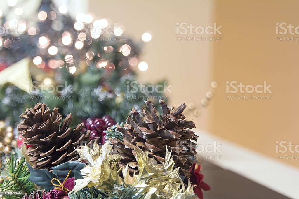 Christmas Garland Decoration with Out of Focus Lights royalty-free stock photo