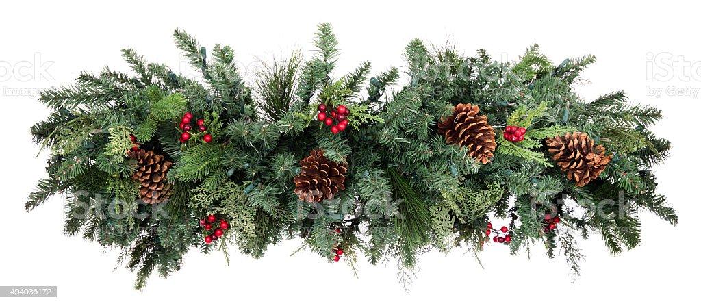 Christmas Garland Isolated on White Background stock photo