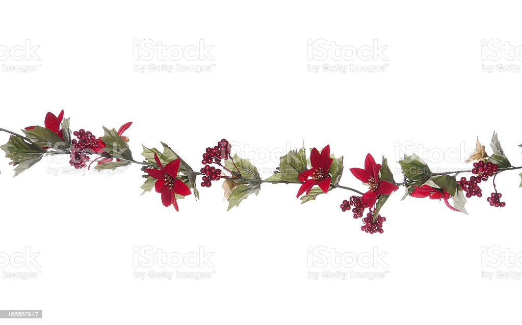 Christmas garland isolated stock photo