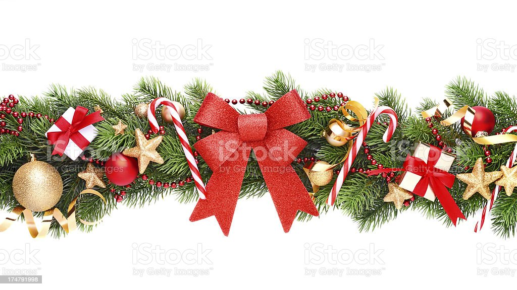 Christmas garland on white royalty-free stock photo