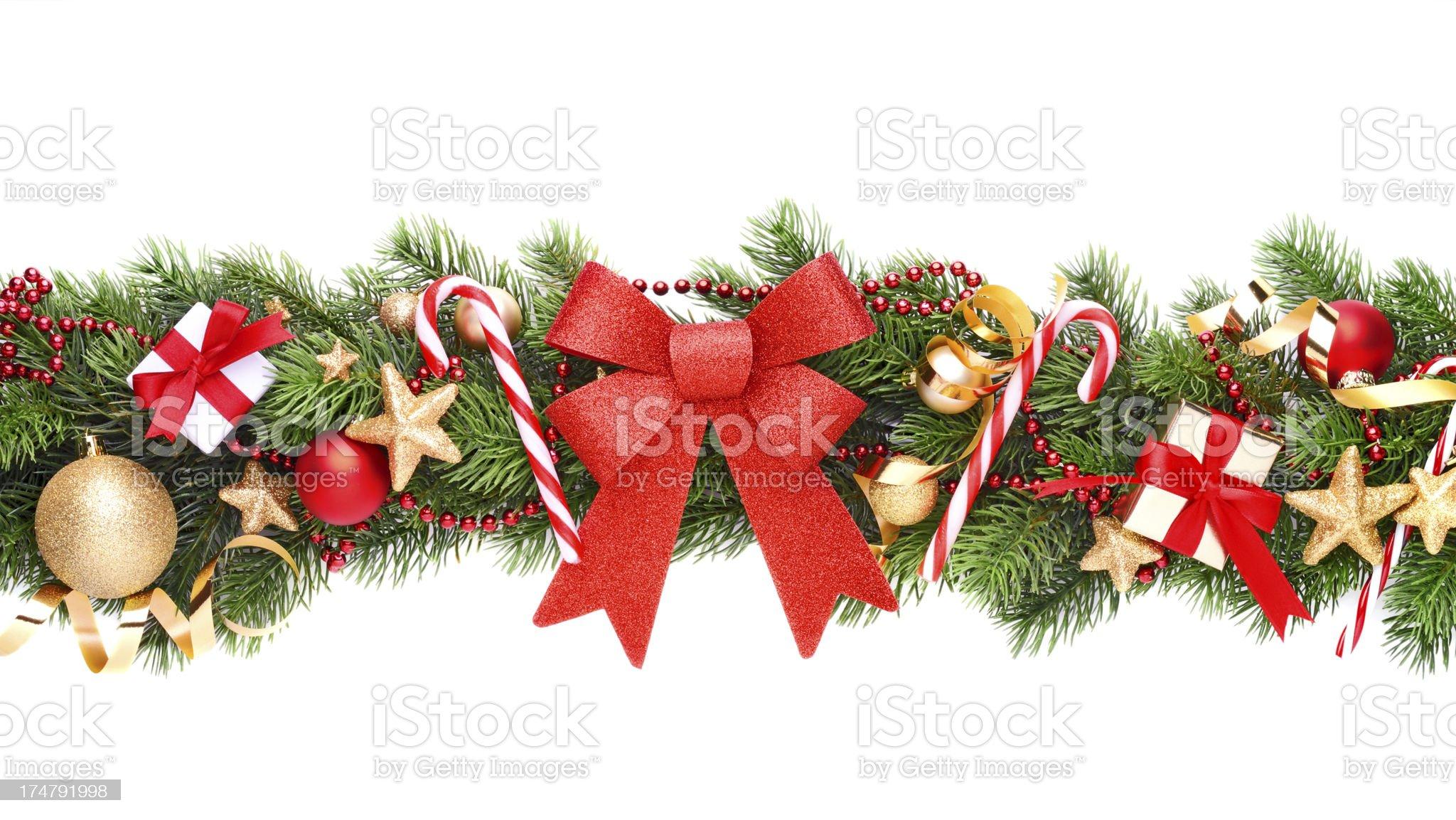 Christmas garland on white royalty-free stock photo