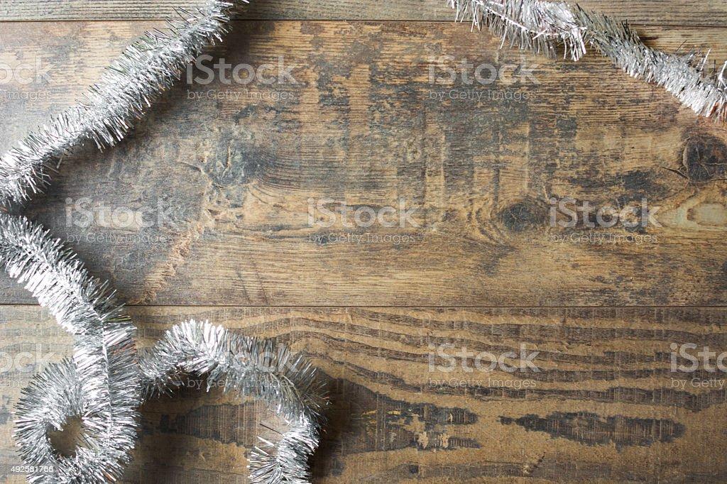 Christmas garland on wood stock photo