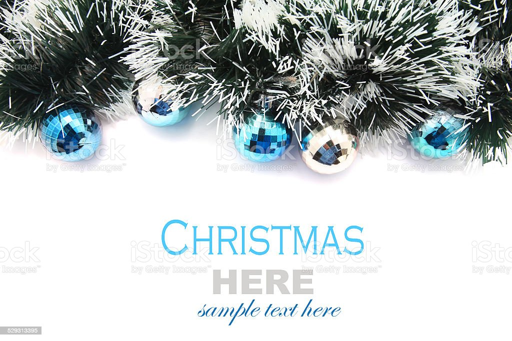 Christmas Garland with blue and silver bubbles stock photo