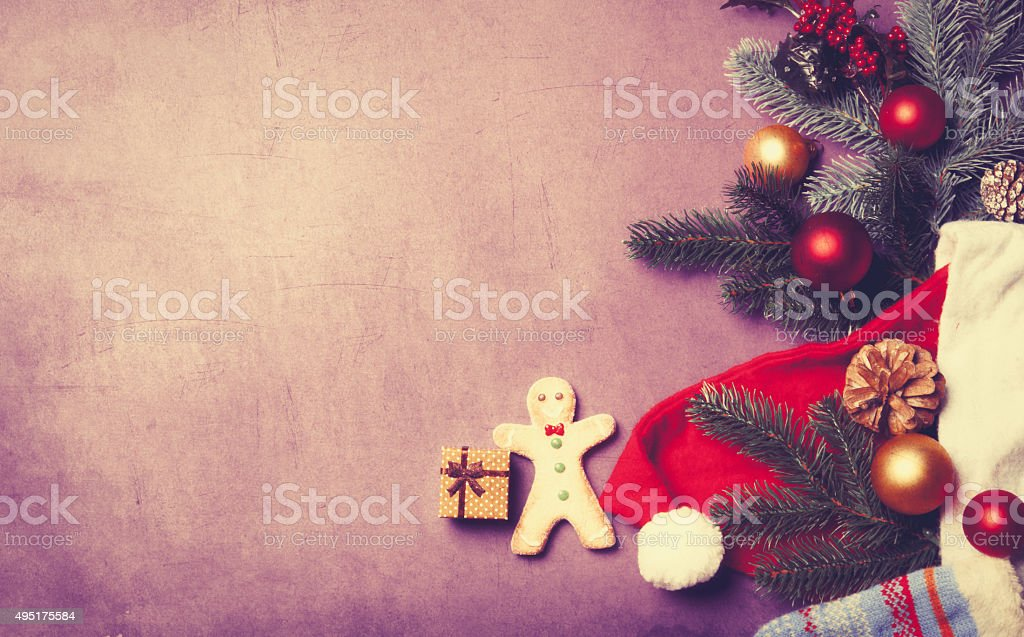 Christmas gift and gingerbread man stock photo