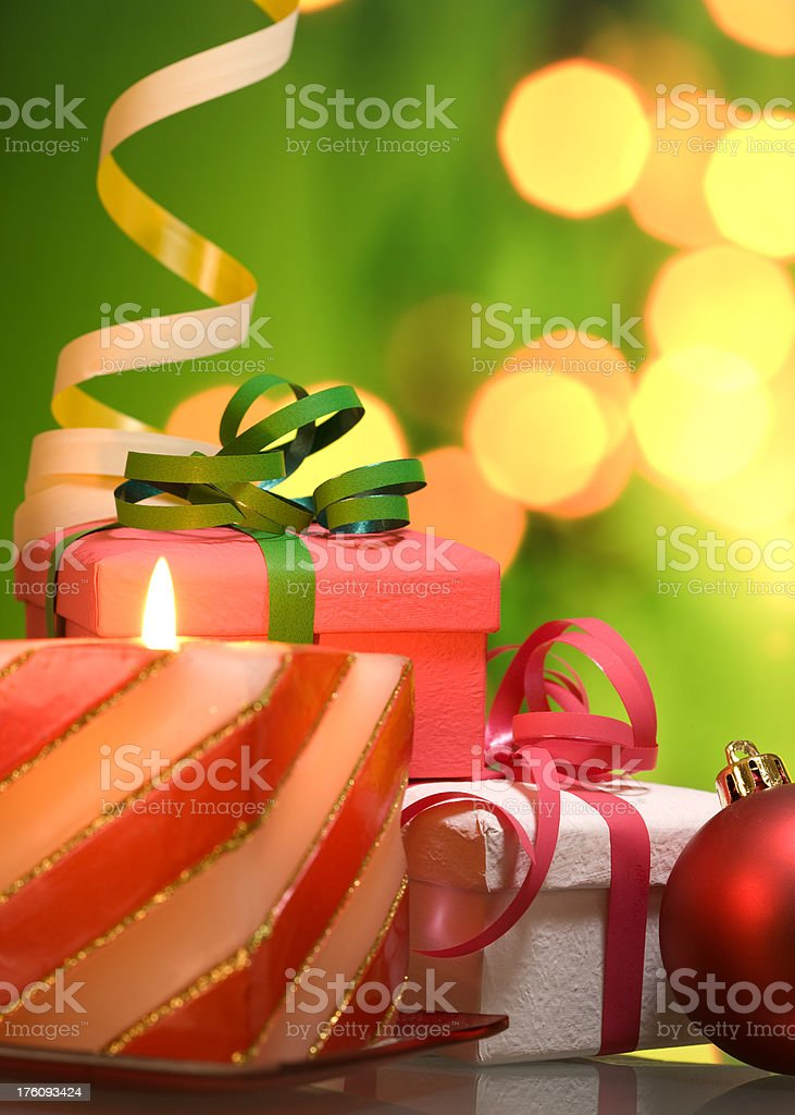 Christmas Gift and Ornaments royalty-free stock photo