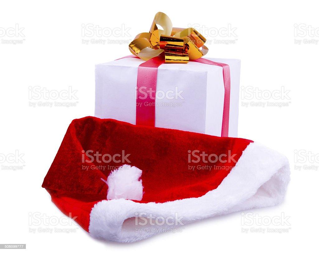 Presente de Natal e Santa's cap foto royalty-free