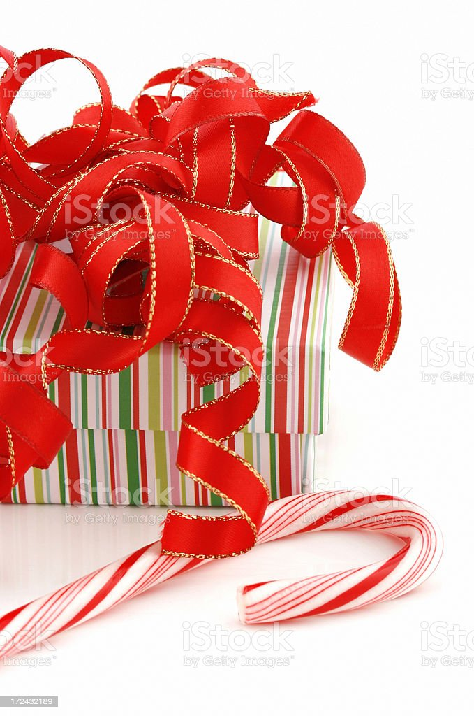Christmas Gift Box & Candy Cane royalty-free stock photo