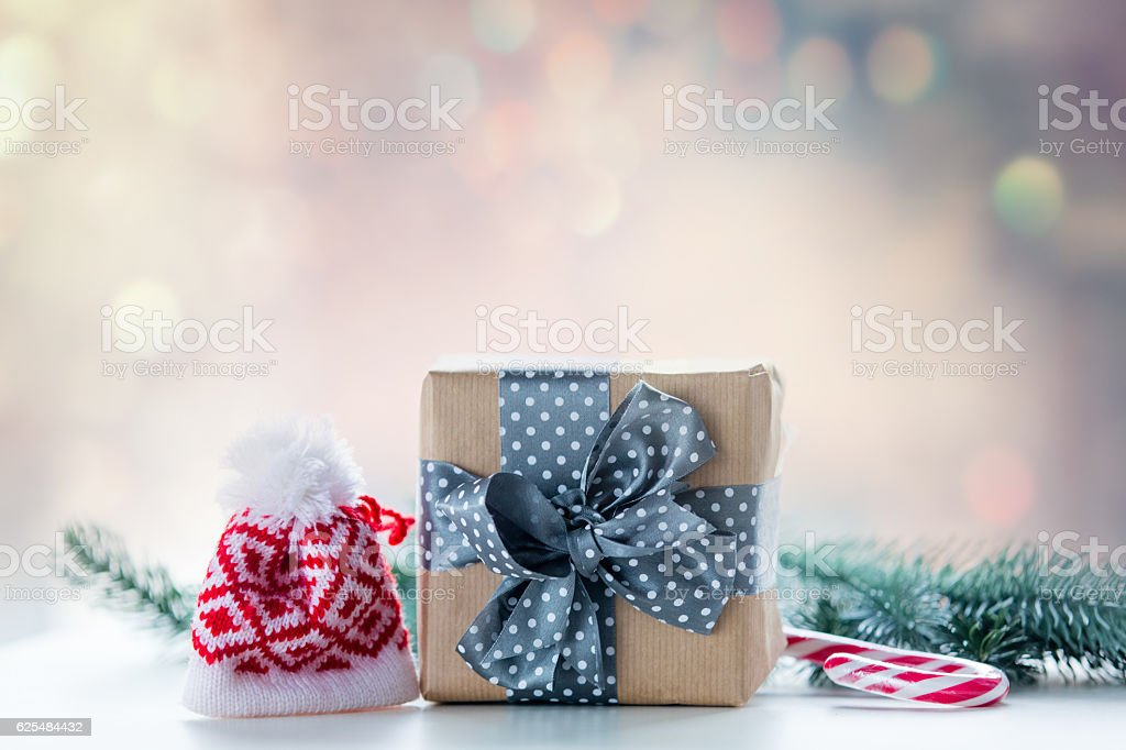 Christmas gift box and candy stock photo