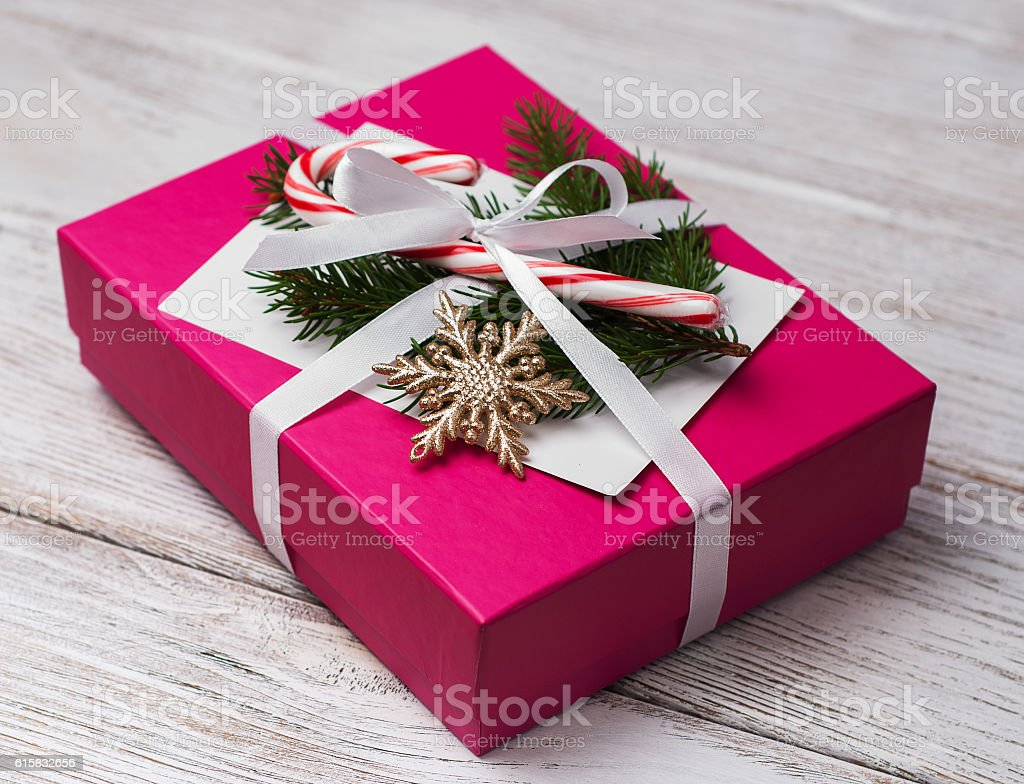 Christmas Gift Box And Decorations Royalty Free Stock Photo