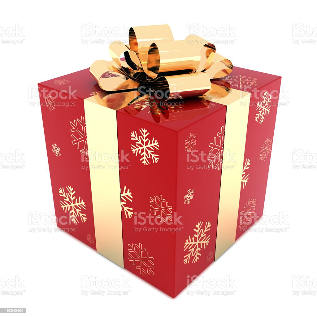 Christmas gift box isolated stock photo