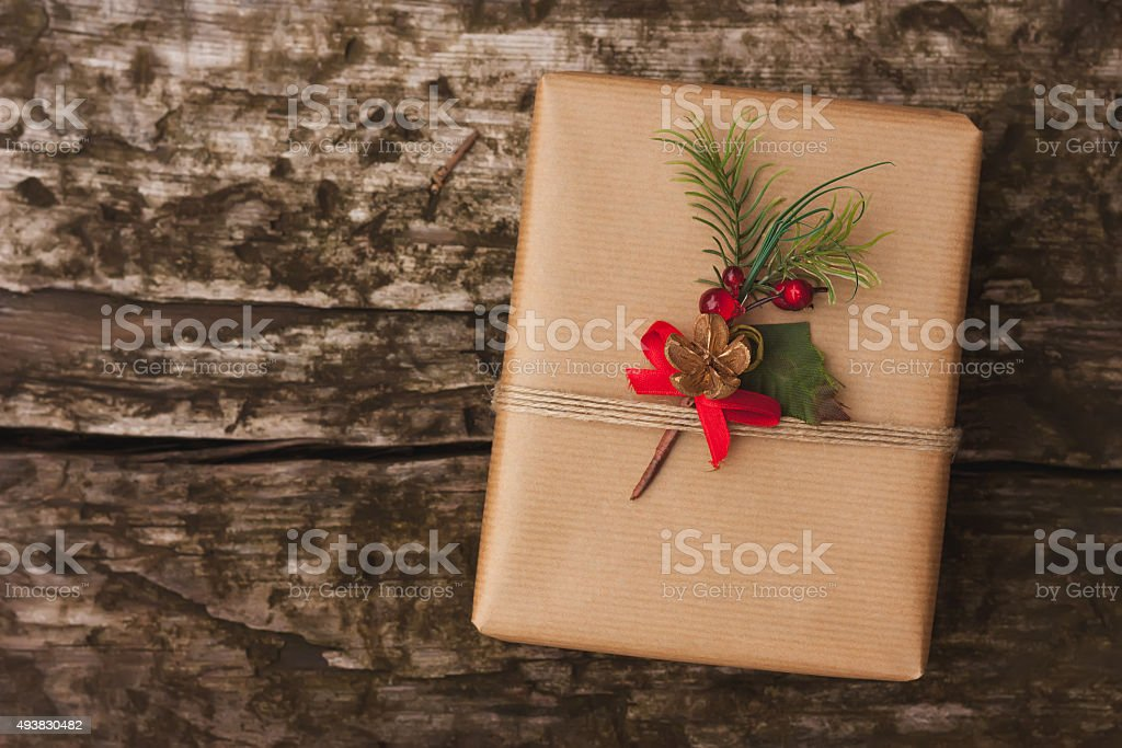 Christmas gift box on wooden background stock photo