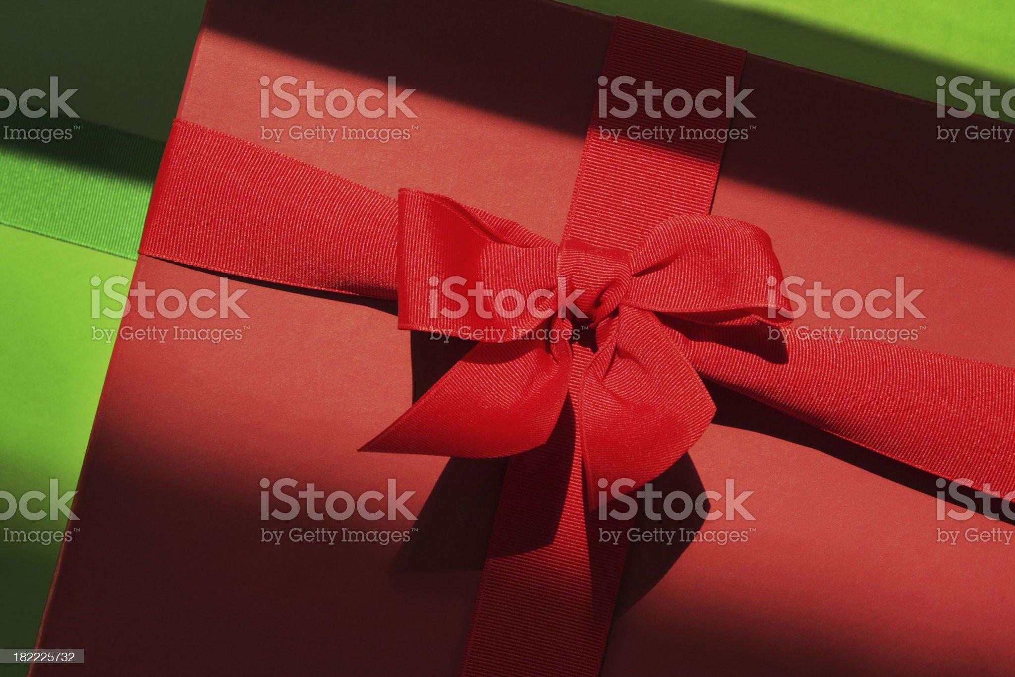 Christmas Gift Box Ribbon Bow royalty-free stock photo