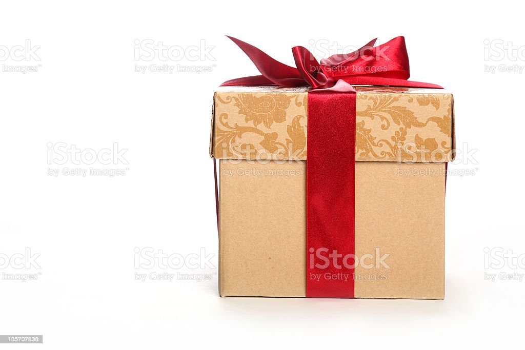Christmas gift box with red satin ribbon front view royalty-free stock photo