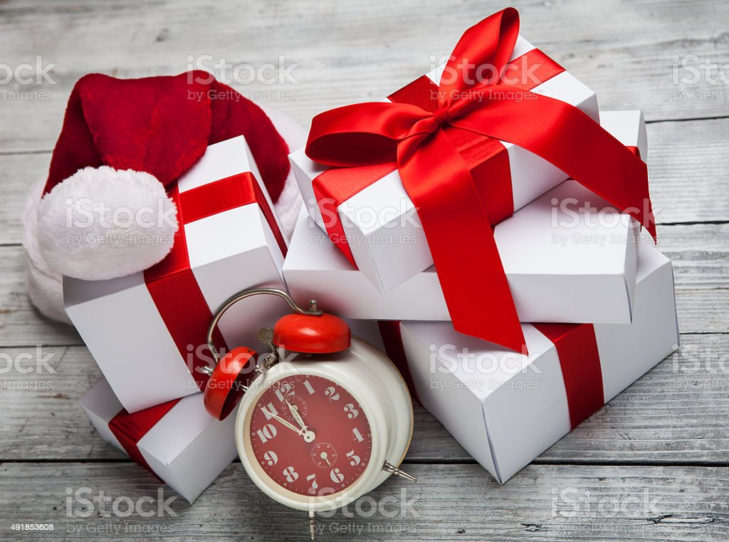 Christmas Gift box with Santa Claus hat stock photo