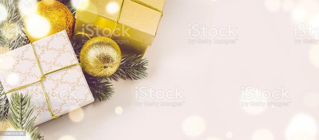 christmas gift boxes and balls stock photo