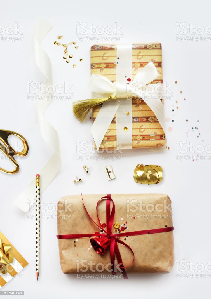 Christmas gift boxes collection with items. View top. Flat lay. stock photo