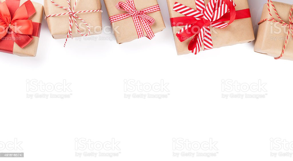 Christmas gift boxes stock photo
