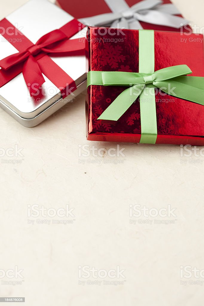 Christmas Gift Boxes with Copyspace royalty-free stock photo