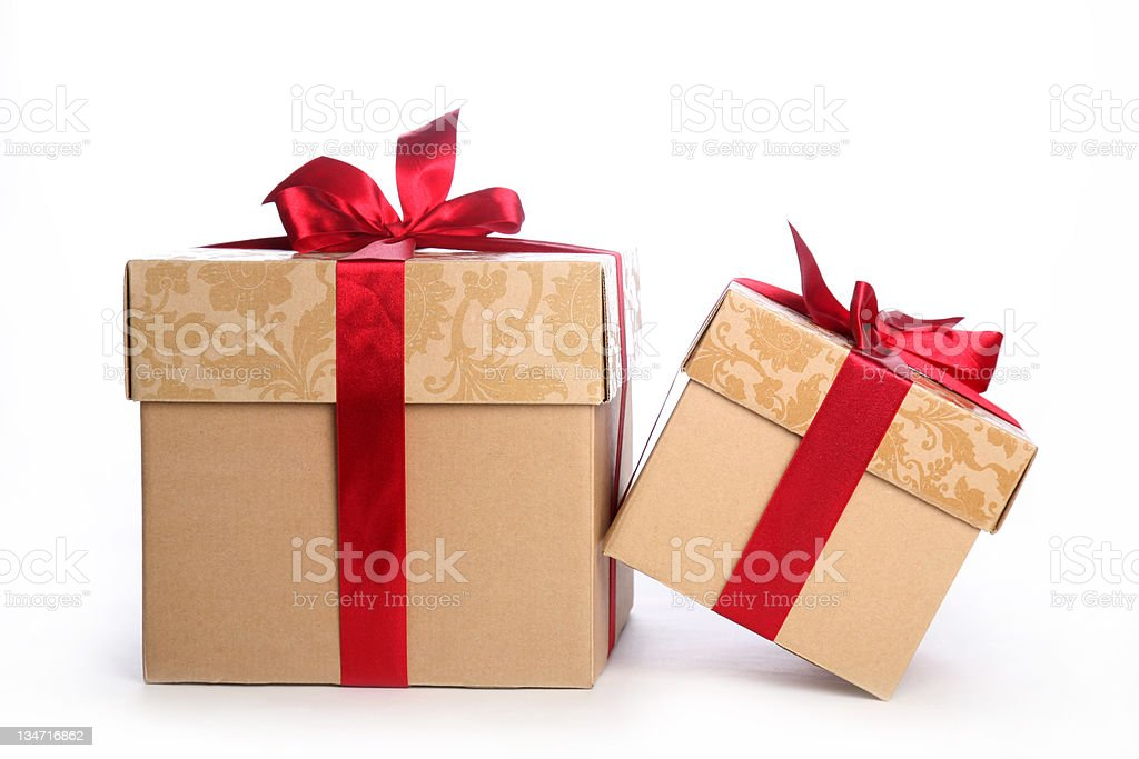 Christmas gift boxes with red satin ribbon front view royalty-free stock photo