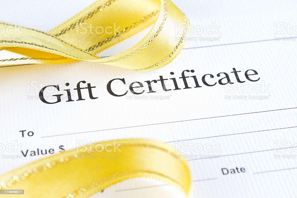 Christmas gift certificate stock photo