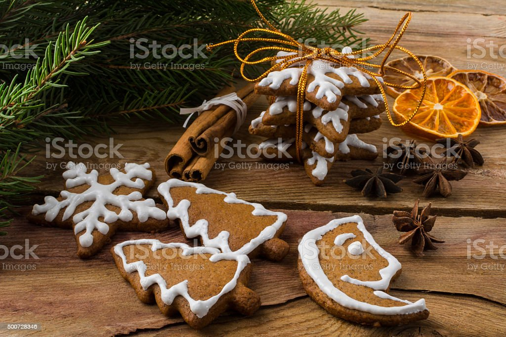 Christmas gift cookies stock photo