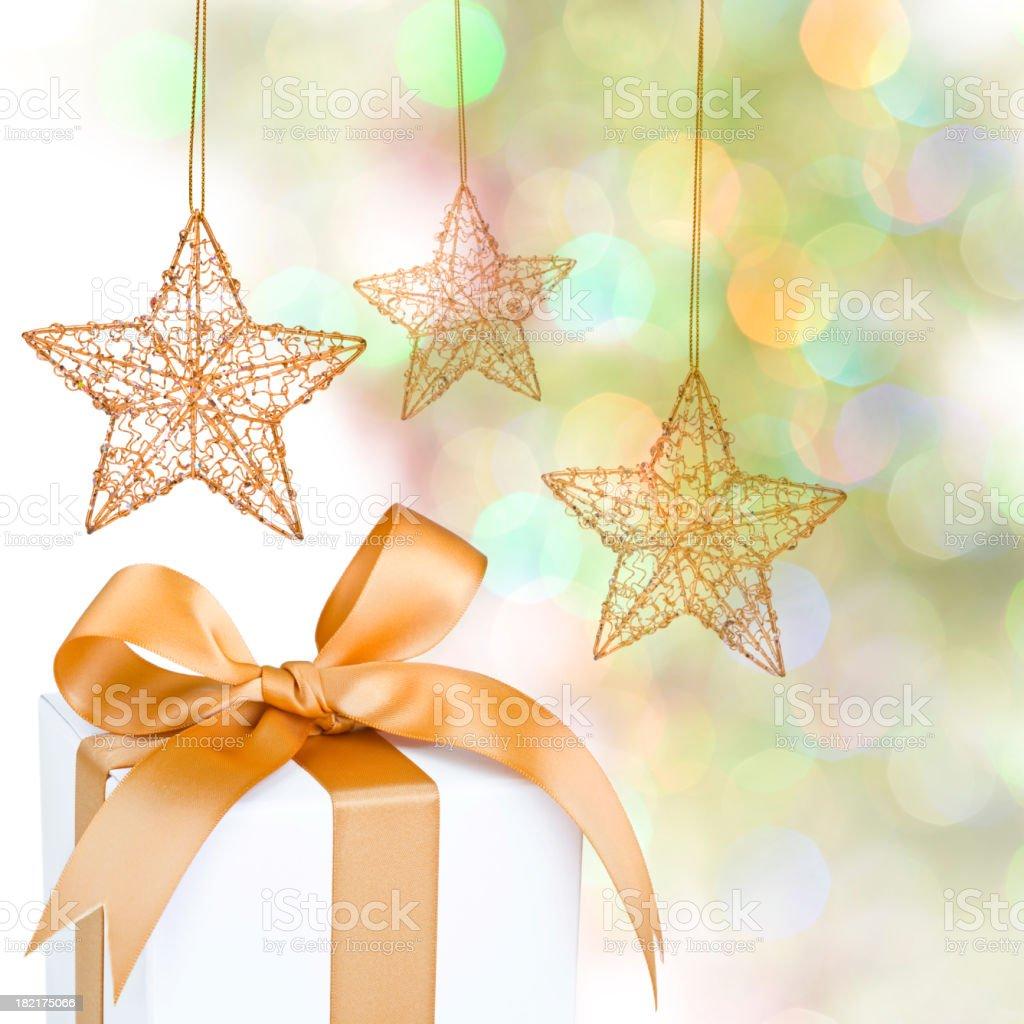 Christmas Gift & Defocused Lights. stock photo