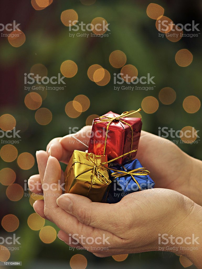 a female holding christmas gifts with a christmas tree in the...