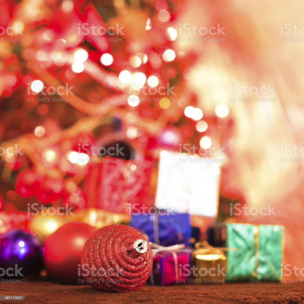 christmas gift in red tree royalty-free stock photo