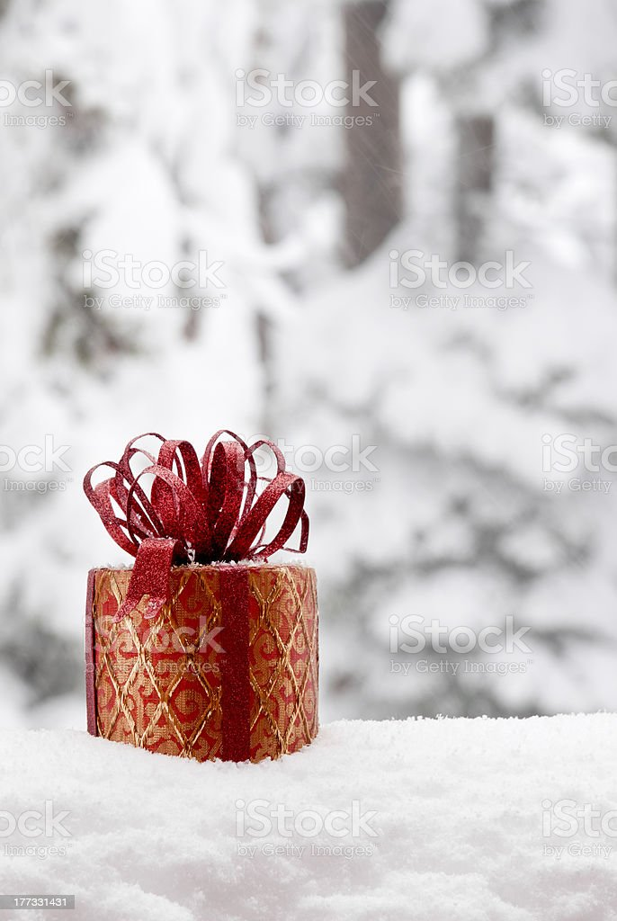 Christmas Gift in Snow stock photo