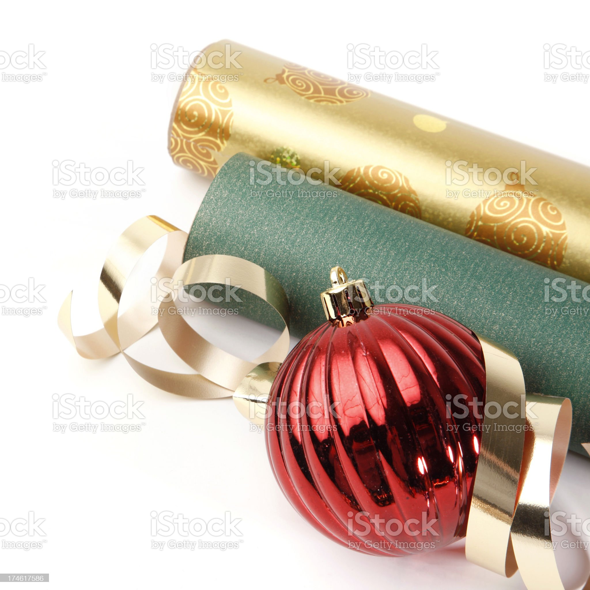 Christmas Gift Paper and Ornament royalty-free stock photo